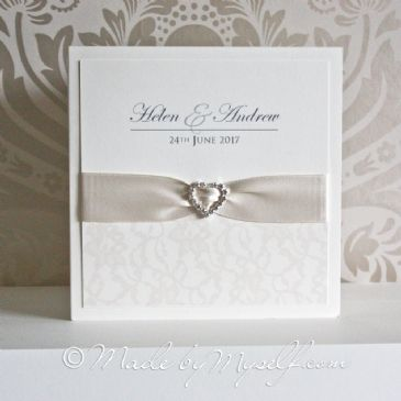 Ribbon Heart Lace Wedding Invitation